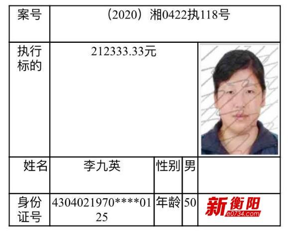 诚信衡阳:衡南县人民法院公布一批失信被执行人名单