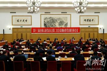 湖南代表團舉行第八次全體會議 杜家毫許達哲參加審議