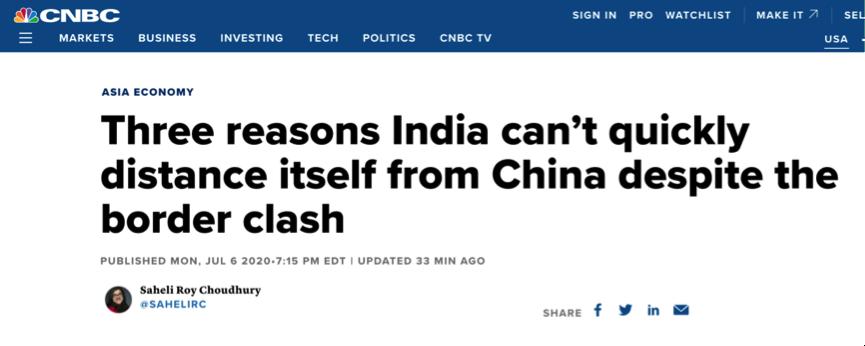 """美媒數據分析印度經濟""""脫鉤""""中國 難!"""