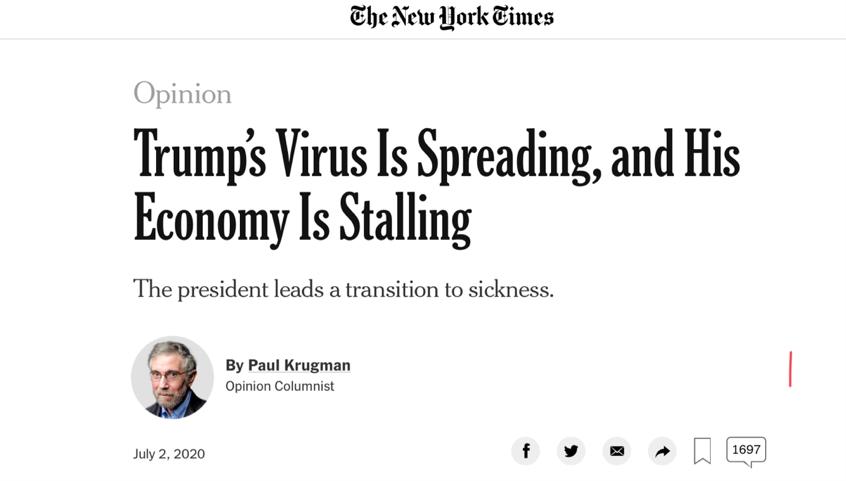 """美確診病例激增 白宮宣稱的""""抗疫勝利""""或已成為一紙空話"""
